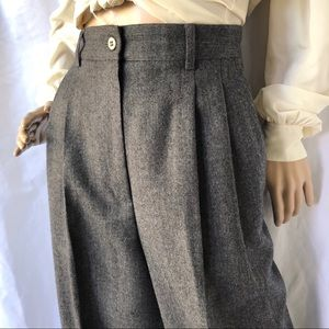 VINTAGE wool high waisted pleated front dress pant
